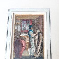 Arte: GRABADO SOBRE PROFESIONES EN 1820. EL PEINE DE LANA. ORIGINAL. Lote 182569756