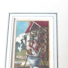 Arte: GRABADO SOBRE PROFESIONES EN 1820. RUECA DE HILAR. ORIGINAL. Lote 182570900