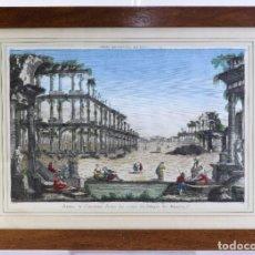 Arte: GRABADO COLOREADO RUINES DE L,ANCIENNE ROME LES RESTES DU TEMPLE DE MINERVE SIGLO XIX. Lote 182695550