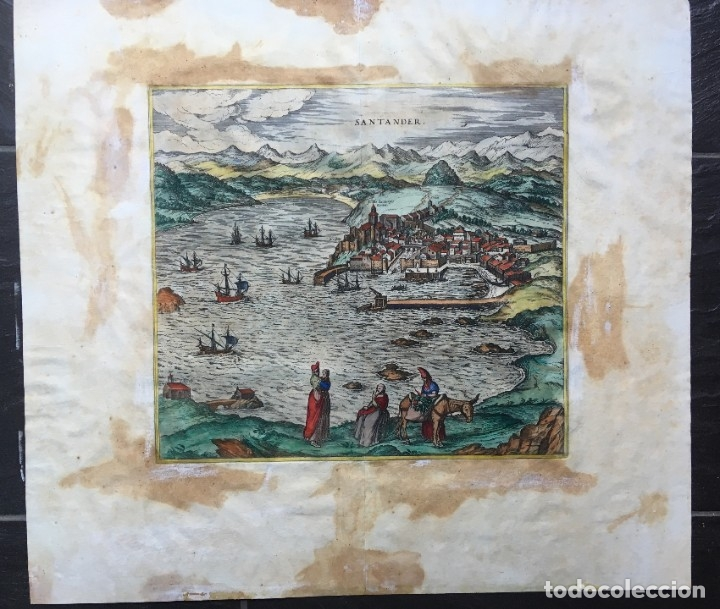 Arte: GRABADO SANTANDER en el SIGLO XVI - 1575 - ILUMINADO - Joris Hoefnagel ; Franz Hogenberg - ORIGINAL - Foto 4 - 182701908