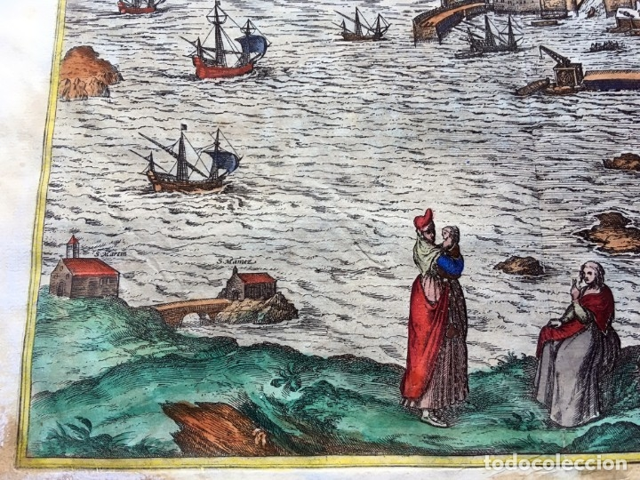Arte: GRABADO SANTANDER en el SIGLO XVI - 1575 - ILUMINADO - Joris Hoefnagel ; Franz Hogenberg - ORIGINAL - Foto 6 - 182701908