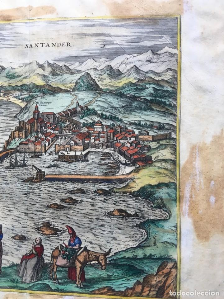 Arte: GRABADO SANTANDER en el SIGLO XVI - 1575 - ILUMINADO - Joris Hoefnagel ; Franz Hogenberg - ORIGINAL - Foto 9 - 182701908
