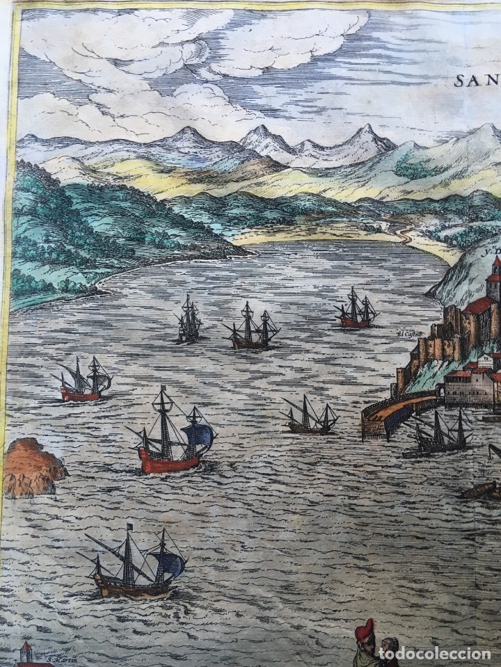 Arte: GRABADO SANTANDER en el SIGLO XVI - 1575 - ILUMINADO - Joris Hoefnagel ; Franz Hogenberg - ORIGINAL - Foto 12 - 182701908
