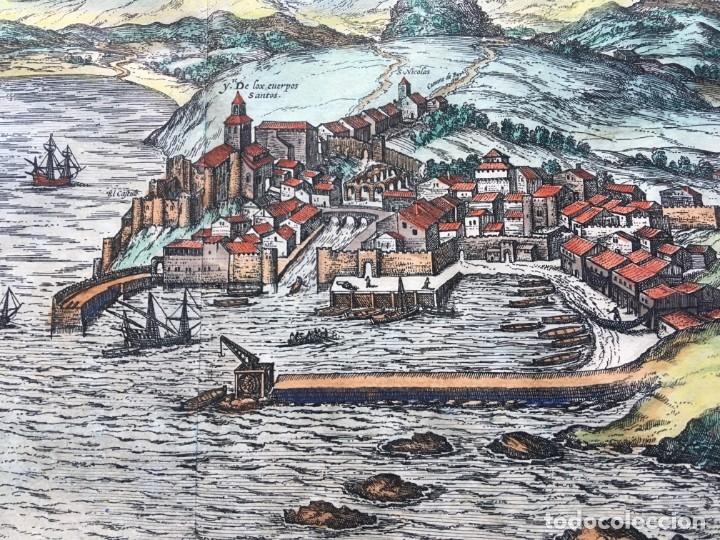 Arte: GRABADO SANTANDER en el SIGLO XVI - 1575 - ILUMINADO - Joris Hoefnagel ; Franz Hogenberg - ORIGINAL - Foto 13 - 182701908