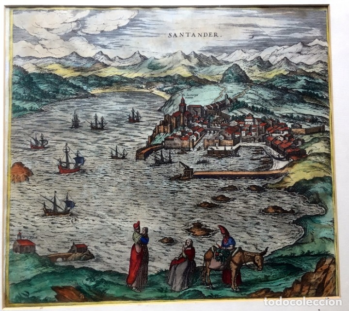 GRABADO SANTANDER EN EL SIGLO XVI - 1575 - ILUMINADO - JORIS HOEFNAGEL ; FRANZ HOGENBERG - ORIGINAL (Arte - Grabados - Antiguos hasta el siglo XVIII)