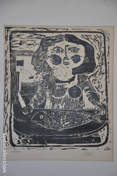 GRABADO LINÓLEO PESCADERA FIRMADO POR VICENTE ARNÁS (Arte - Grabados - Contemporáneos siglo XX)