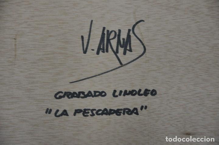 Arte: Grabado linóleo PESCADERA firmado por Vicente Arnás - Foto 2 - 182746878