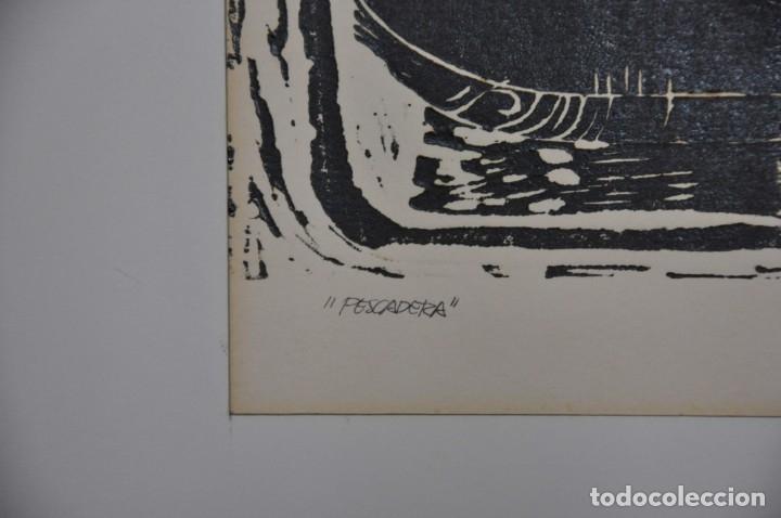 Arte: Grabado linóleo PESCADERA firmado por Vicente Arnás - Foto 3 - 182746878