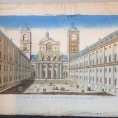 Arte: GRABADO, VISTA ÓPTICA, DEL ATRIO DE LA IGLESIA DEL PALACIO DEL ESCORIAL EN MADRID, PARIS, 1750.. Lote 182860471