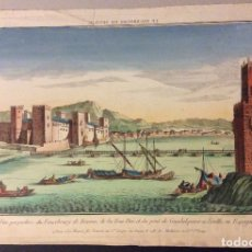 Arte: VISTA DEL SIGLO XVIII DEL TORRE DE ORO Y CASTILLO DE SAN JORGE, SEVILLA. Lote 182861290
