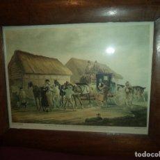 Arte: GRABADO ANTIGUO SIGLO XIX GRABADOR H. PAPPRILL ORIGINAL MARCO DE MADERA DE NOGAL ANTIGUO. Lote 182915206