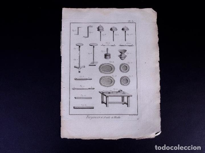 Arte: FAYENCERIE, 10 GRABADOS. ENCICLOPEDIA DIDEROT 1783 - Foto 8 - 183008770