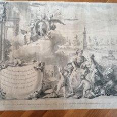 Arte: PRIMER GRABADO DE LA MASCARA REAL PARA FESTEJAR EL FELIZ DESSEADO ARRIBO DE D.N CARLOS TERCERO. 1764. Lote 183444985