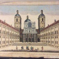 Arte: GRABADO ANTIGUO DEL ATRIO DE LA IGLESIA DEL PALACIO DEL ESCORIAL EN MADRID, PARIS, 1750.MED.47X33 CM. Lote 183486976