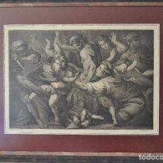 Arte: GRABADO CÍRCULO DE CARRACCI (BOLONIA 1560-1609) EL SACRIFICIO DE LOS INOCENTES 80 X 63 CM.. Lote 183532446