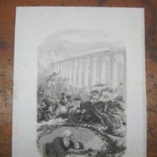 Arte: 1875 GRABADO AL ACERO DE LEMUD POR LÉOPOLD MASSARD AU GALOP LAS ULTIMAS CANCIONES DE BERENGUER. Lote 183698152