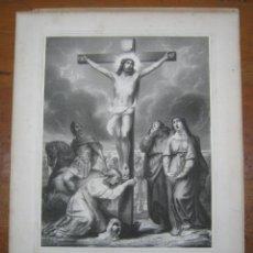 Arte: SXIX AGONÍA DE JESUS EN CRUZ EN EL CALVARIO MARIA MADALENA SAN JUAN VIRGEN MARÍA Y LANZA DE LONGINOS. Lote 183709200