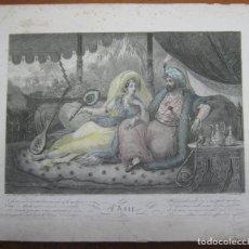 Arte: S.XIX - BELLO GRABADO ILUMINADO L'ASIE - SULTAN Y SULTANA. Lote 183862163