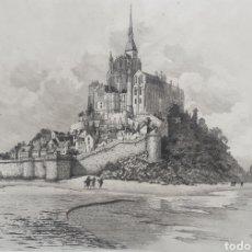 Arte: HENRI LÉON VOISIN (FRANCIA, 1861-1945) - VISTA DEL MONTE SAINT-MICHEL.AGUAFUERTE.FIRMADO.1932.. Lote 183901181