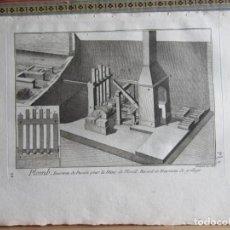 Arte: 1785-PLOMO.FABRICACIÓN.MÁQUINAS,HERRAMIENTAS.UTENSILIOS. 8 GRABADOS ORIGINALES.GRANDES. Lote 183984227