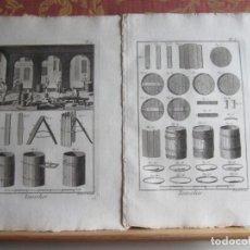 Arte: 1785-TONELES.TONELEROS.FABRICACIÓN.PIEZAS.MÁQUINAS,HERRAMIENTAS. 8 GRABADOS ORIGINALES.GRANDES. Lote 183992002