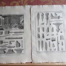 Arte: 1785-HERRERIA.YUNQUES.TORNILLOS.GATOS.TALADROS.MÁQUINAS,HERRAMIENTAS. 6 GRABADOS ORIGINALES.GRANDES. Lote 183992473