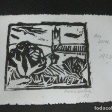 Arte: GRABADO ORIGINAL DE DIONIS MARTINEZ EN FELICITACION NAVIDEÑA 1983.. Lote 184089865