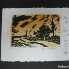Arte: GRABADO ORIGINAL DE DIONIS MARTINEZ EN FELICITACION NAVIDEÑA 1987.. Lote 184090420