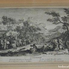 Arte: (M) GRABADO FRANCÉS - RIGAUD JAU FECIT, LA COURSE ENNEMIS DES PLAISIRS TRANQUILLES. Lote 184113625