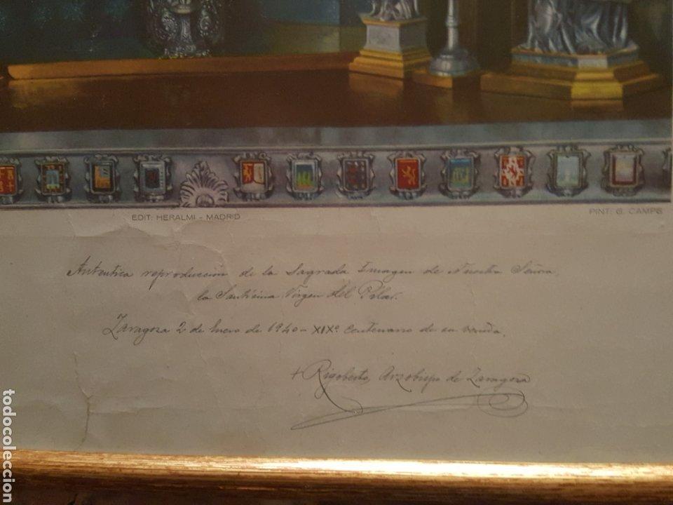 Arte: Escasísima estampa Virgen del Pilar. Zaragoza. Enmarcada. Autografiada Arzobispo Rigoberto. 1940 - Foto 4 - 184265781