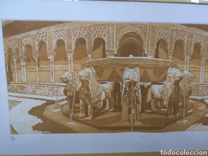 Arte: Grabado fuente del Patio de los Leones Granada la Alhambra. Prueba de autor - Foto 2 - 184275565
