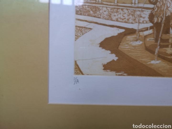 Arte: Grabado fuente del Patio de los Leones Granada la Alhambra. Prueba de autor - Foto 3 - 184275565