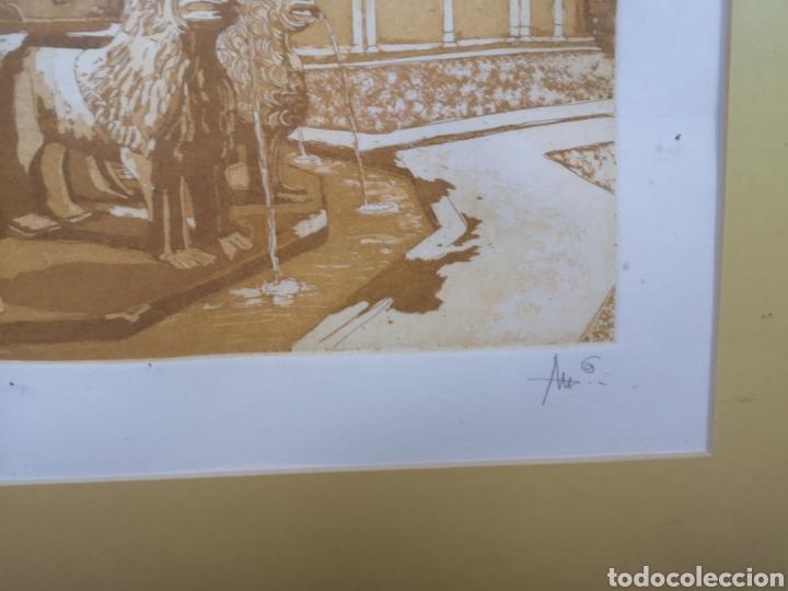 Arte: Grabado fuente del Patio de los Leones Granada la Alhambra. Prueba de autor - Foto 4 - 184275565