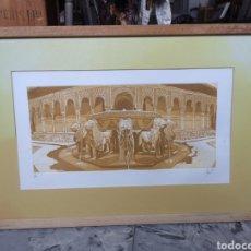 Arte: GRABADO FUENTE DEL PATIO DE LOS LEONES GRANADA LA ALHAMBRA. PRUEBA DE AUTOR. Lote 184275565