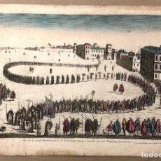 Arte: GRABADO COLOREADO CRIMINALES JUZGADOS POR LA INQUISICION EN LISBOA. PORTUGAL. SIGLO XVIII. Lote 184543462