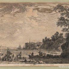 Arte: JACQUES ALIAMET - FRANCIA 1726-1788 - AGUA FUERTE SOBRE PAPEL - VUE DE ST VALERY - SUR LASOMME. Lote 184620012