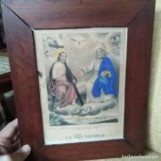 Arte: ANTIGUO GRABADO DEL SIGLO XVIII DE LA SANTISIMA TRINIDAD ILUMINADO A MANO CON MARCO ORIGINAL. Lote 184725600
