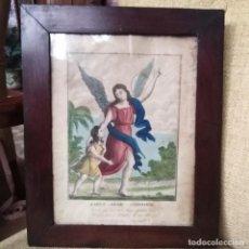 Arte: ANTIGUO GRABADO DEL SIGLO XVIII DEL ANGEL DE LA GUARDA ILUMINADO A MANO Y MARCO ORIGINAL. Lote 184727117