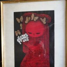 Arte: KAORU KAWANO ( JAPÓN 1916 - 1965).GRABADO DE 1950 TITULADO NIÑA CON FLORES Y MARIPOSAS.. Lote 184766912