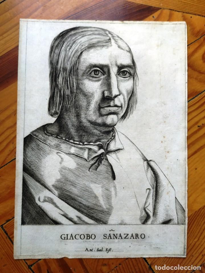 EXCEPCIONAL GRABADO SIGLO XVI- GRABADOR: ANTONIO DE SALAMANCA . RETRATO DE JACOBO SANNZAZZARO (Arte - Grabados - Antiguos hasta el siglo XVIII)