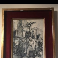 Arte: GRABADO ANTIGUO AL AGUAFUERTE - PROCESIÓN - FIRMADO. Lote 184903467