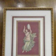 Arte: MUJER TOCANDO LA PANDERETA ESTILO ROMANO GRABADO SIGLO 20. Lote 185699823