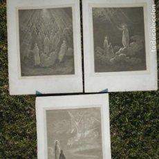 Arte: GUSTAVE DORE: 3 GRABADOS ANTIGUOS CON FIRMA DEL S. 19 - ESCENAS DIVINA COMEDIA. Lote 184767272
