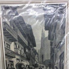 Arte: 1877-GRABADO ORIGINAL. XILOGRAFÍA. FUENTERRABIA, CALLE MAYOR. FIRMADA GRANDSIRE.. Lote 185998272
