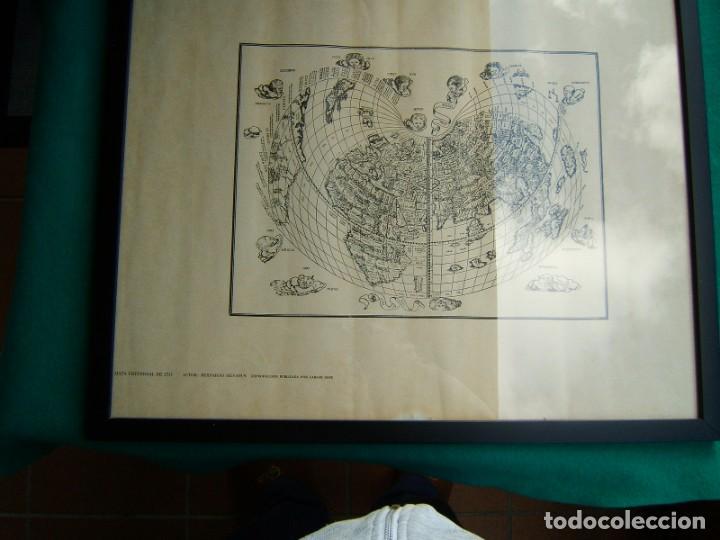 MAPA UNIVERSAL DE 1511-BERNARDO SILVANUS-ENMARCADO Y CON VIDRIO-REPRODUCCION POR MARCOS SANZ-AÑOS 50 (Arte - Grabados - Contemporáneos siglo XX)