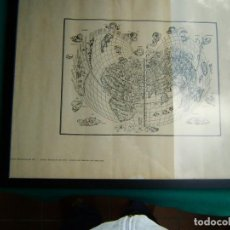 Arte: MAPA UNIVERSAL DE 1511-BERNARDO SILVANUS-ENMARCADO Y CON VIDRIO-REPRODUCCION POR MARCOS SANZ-AÑOS 50. Lote 186137386