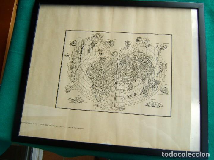 Arte: MAPA UNIVERSAL DE 1511-BERNARDO SILVANUS-ENMARCADO Y CON VIDRIO-REPRODUCCION POR MARCOS SANZ-AÑOS 50 - Foto 2 - 186137386