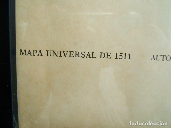 Arte: MAPA UNIVERSAL DE 1511-BERNARDO SILVANUS-ENMARCADO Y CON VIDRIO-REPRODUCCION POR MARCOS SANZ-AÑOS 50 - Foto 3 - 186137386