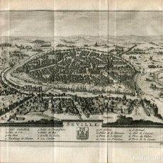 Arte: SEVILLA. VISTA TOPOGRAFICA DE LA CIUDAD POR PIETER VAN DER AA, 1715 . Lote 186170985