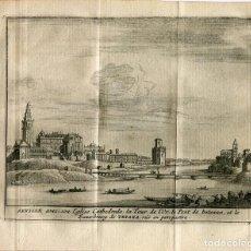 Arte: SEVILLA CON SU CATEDRAL, LA TORRE DEL ORO, EL PUENTE DE LOS BARCOS Y TRIANA. VAN DER AA, 1715. Lote 186171325